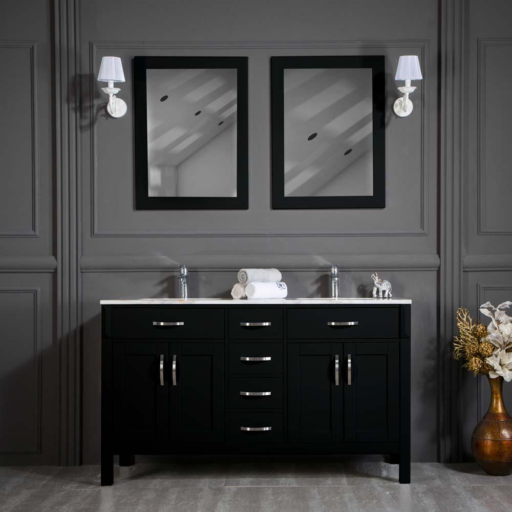 Fawna 60 Black Double Sink Bathroom Cabinet
